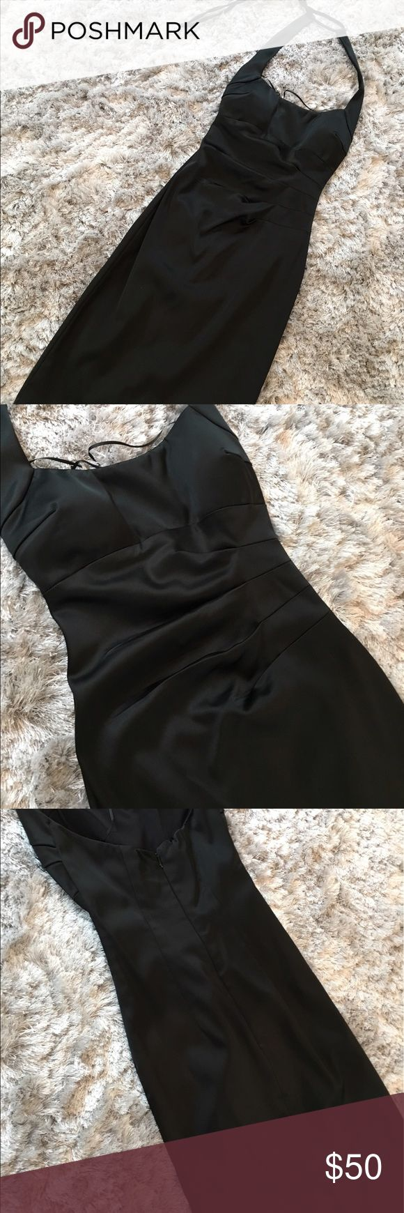 ✨Perfect cocktail 🍸dress ✨ Uber classy and sexy cocktail dress. Perfect for a wedding or a black tie event. Halter style with adjustable tie straps for that perfect fit. Scrunch waste to accent the waste. Fitted but not tight. Thick silky material. Zipper back Cache Dresses Midi