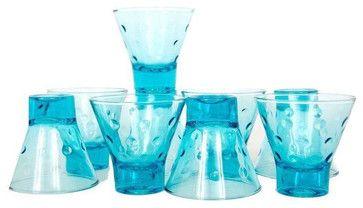Blue Hazel Atlas Glasses - Set of 9 - midcentury - Everyday Glassware - San Francisco - Chairish