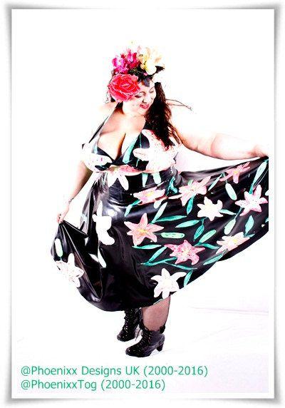 Phoenixx Designs * Lily Tikki Dress * Plus size Uk Latex Dress size 14 16 18 20 22 24 26 BBW Wild Exotic Lillies Latex 1950s Swing Dress