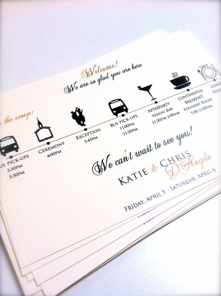 Wedding Itinerary Cards. $1.50, via Etsy.