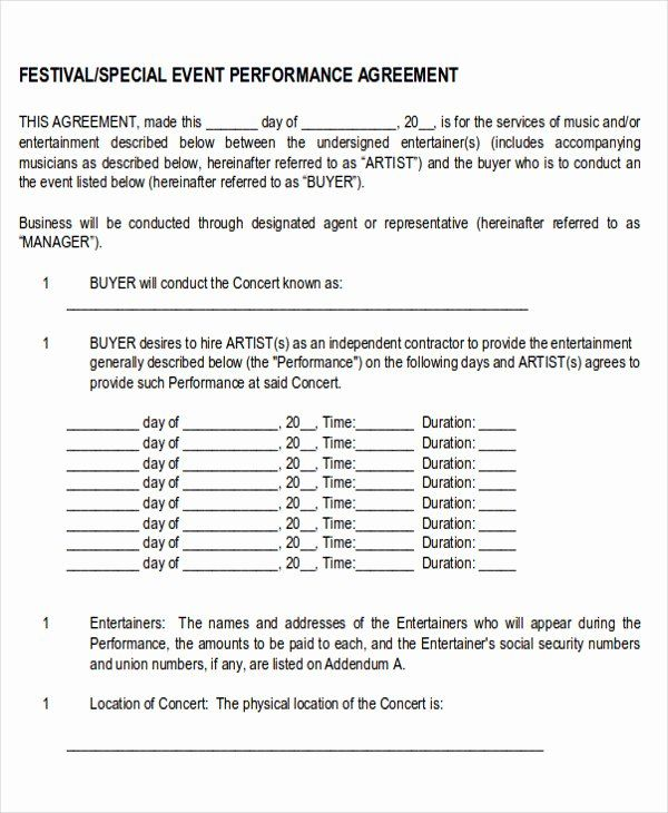 Music Performance Contract Template Fresh Performance Agreement