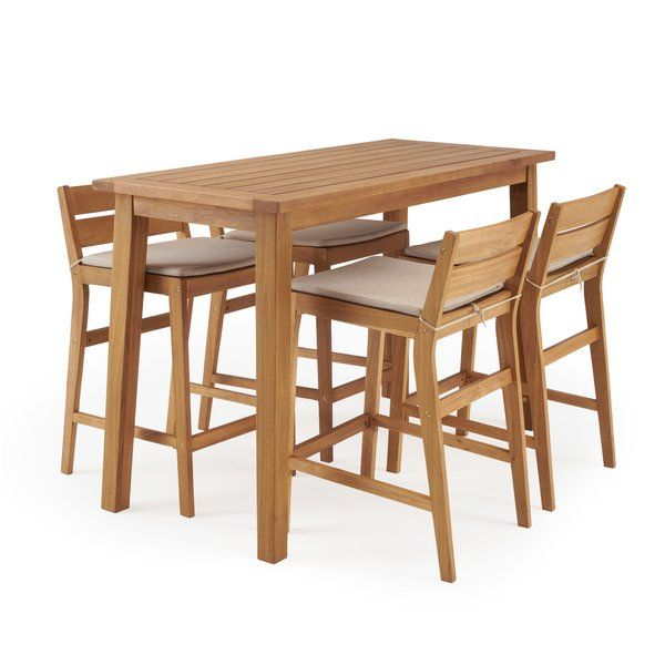 Glisson 5 Piece Teak Bar Height Dining Set With Cushions Reviews Joss Main Bar Height Patio Set Bar Height Kitchen Table Rst Brands