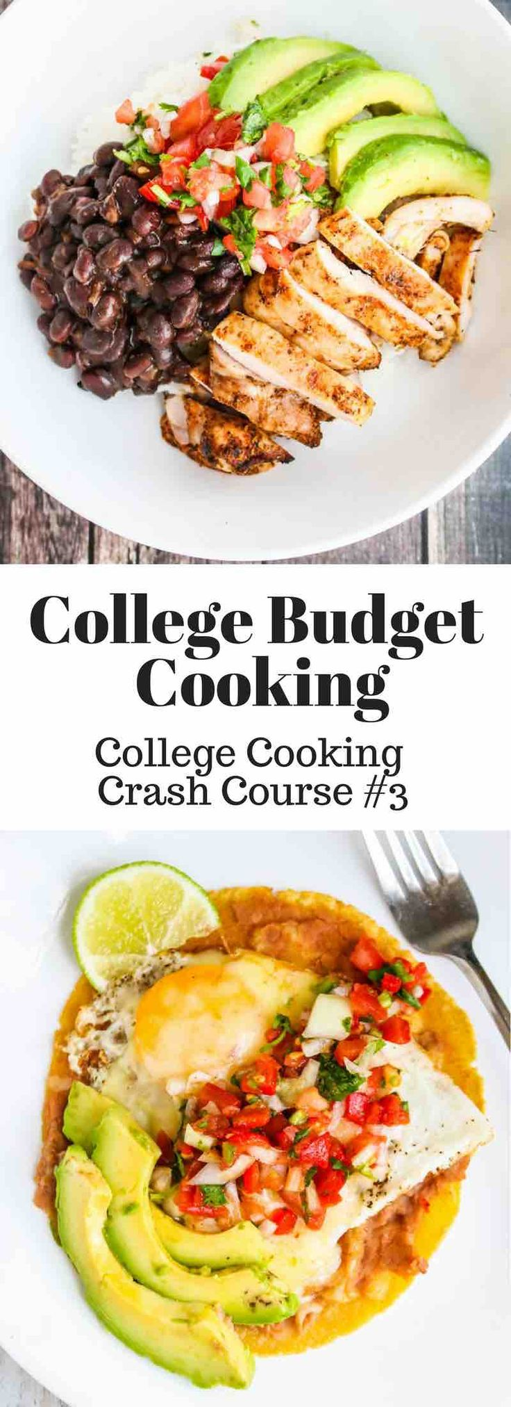 College Cooking Crash Course. Learn how to cook healthy on a low budget of $6/day, making huevos rancheros, quesadillas and burrito bowls repurposing ingredients.