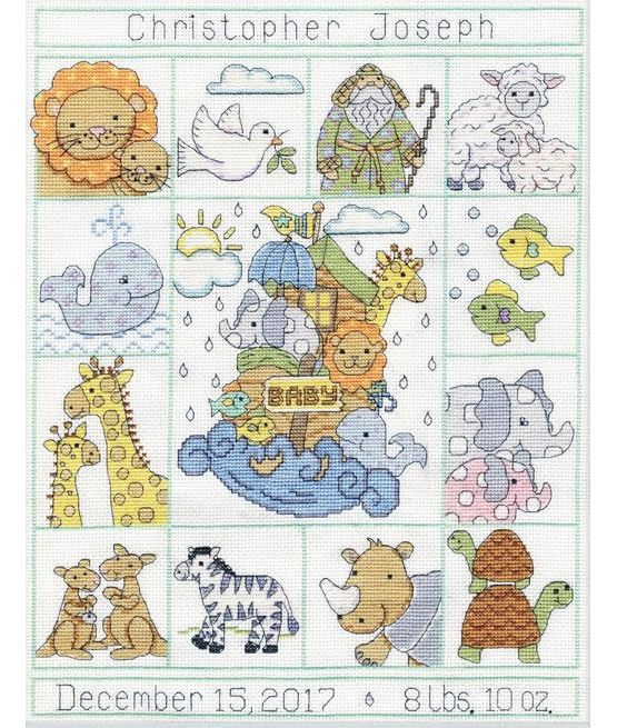 This adorable birth sampler cross stitch features Noah's arc and some of his animals including a zebra, kangaroos and elephants.  £27.00 | Past Impressions