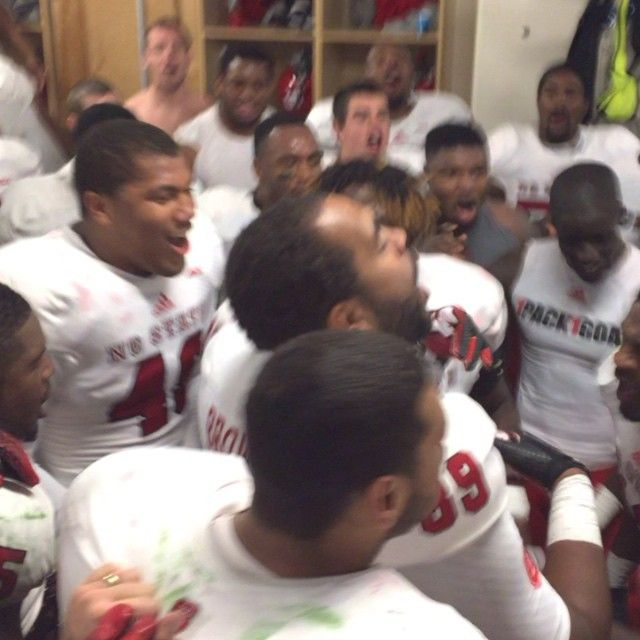 For the Strength of Pack is the Wolf and the Strength of the Wolf is the Pack  Football players chanting UNC game