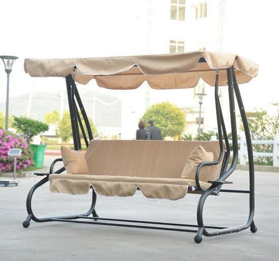 Outsunny Metal Frame Outdoor Porch Patio Canopy Swing Bench Convertible Bed