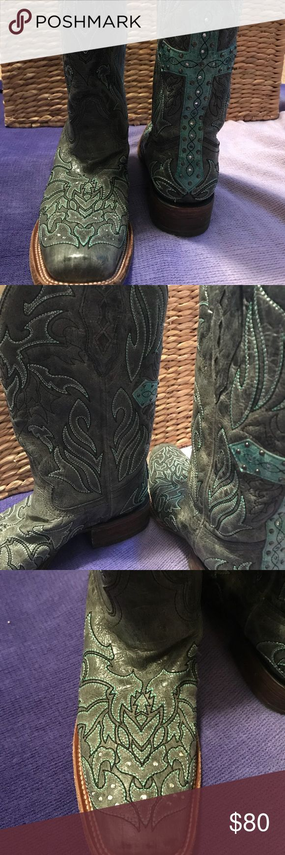 BEAUTIFUL vintage coral cowboy boots These are stunning! Turquoise Vintage coral boots! Large cross on the back of both boots. Calf shaft is 12 inches from top to bottoms. Worn maybe 3 times! These are perfect! Size 9 1/2 Corral Shoes