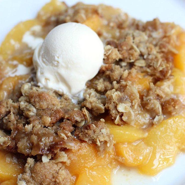 The BEST (and easiest!) Peach Crisp recipe from TastesBetterFromScratch.com