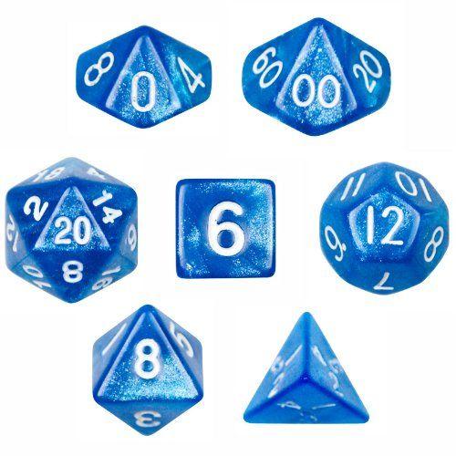 Wiz Dice 7 Die Polyhedral Blue Sparkle Horizon Dice Set w...