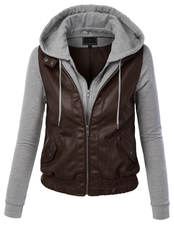 Lock and Love Womens Faux Leather Zip Up Moto Biker Jacket With Hoodie S BROWN