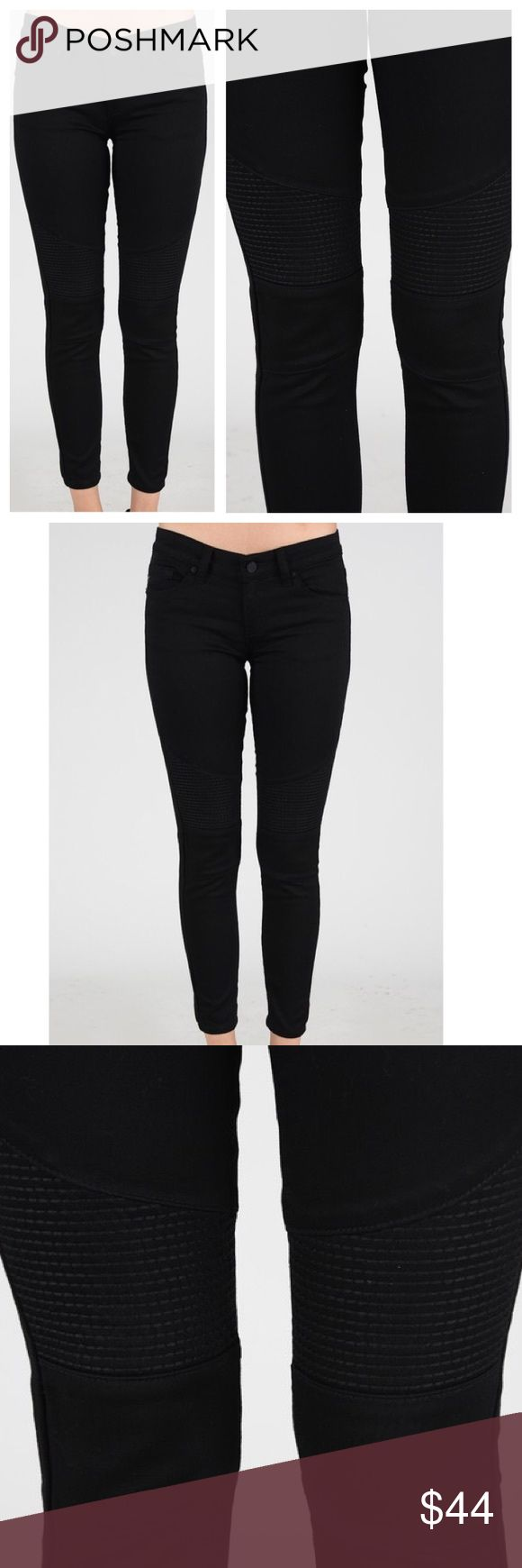 """🆕 Black Stitched Moto Pants The stitching detail on the knee, combined with the matte black hardware, make these moto pants a statement piece! They remind me of my favorite Balmain pants but at a mere fraction of the cost. Features: 5 functional pockets and are stretchy. Cotton, Polyester, Spandex. Size Zero Measures: 7.5"""" Rise, 26"""" Length. Available to ship 3/3 Jeans"""