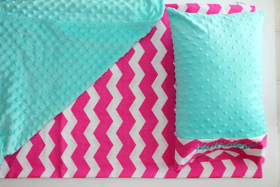 Nap Mat Cover - Pink Chevron - White - Teal - Choose Your Colors - Kindermat - Back To School - Pillowcase - Blanket - Minky