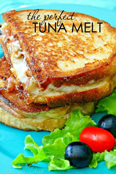 (Y- great) The perfect Tuna Melt Tuna, 2 cans, drained Onion, medium size, chopped Celery, 1/2 a stalk, chopped Garlic (1 clove), minced Parsley, 1 tablespoon, chopped Mayonnaise, 3-4 tablespoons Olive Oil, 3 tablespoons, divided Mozzarella, 1/3 cup, shredded Bread, sliced Butter, softened Salt and Pepper to taste  Read more at http://www.sarahtitus.com/2015/10/04/the-perfect-tuna-melt/#bb6kKJ1wR6wegCbQ.99