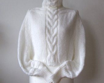 BRAIDED SHRUG in lime citron with grey / hand knitted by couvert