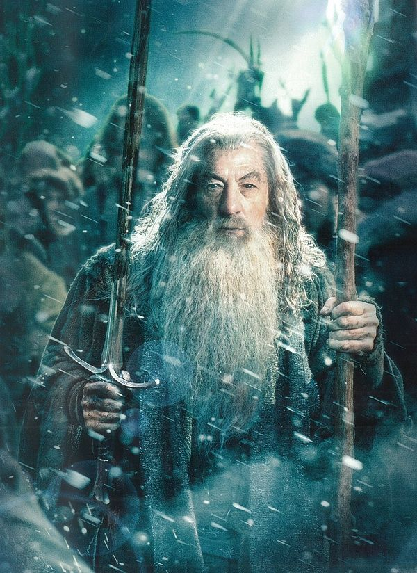 The One Ring.net  Gandalf with Glamdring and glowy staff. Note snow and the bloodied state of the blade: it's probably at Dale or Erebor.