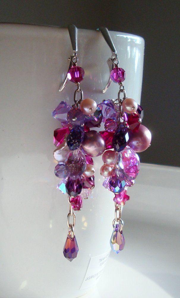 Pearl Earrings Long Dangle Earrings Cluster Earrings Swarovski Crystal Tassel Earrings Purple Pink Earrings. via Etsy.