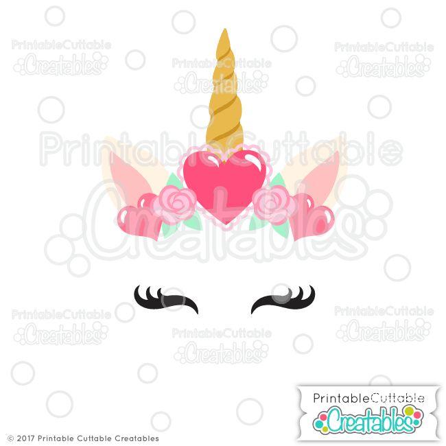 Valentine Hearts Unicorn Face Free Svg Files Free Svg