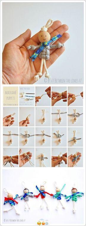 poppetje van grote kraal en dik garen of touw