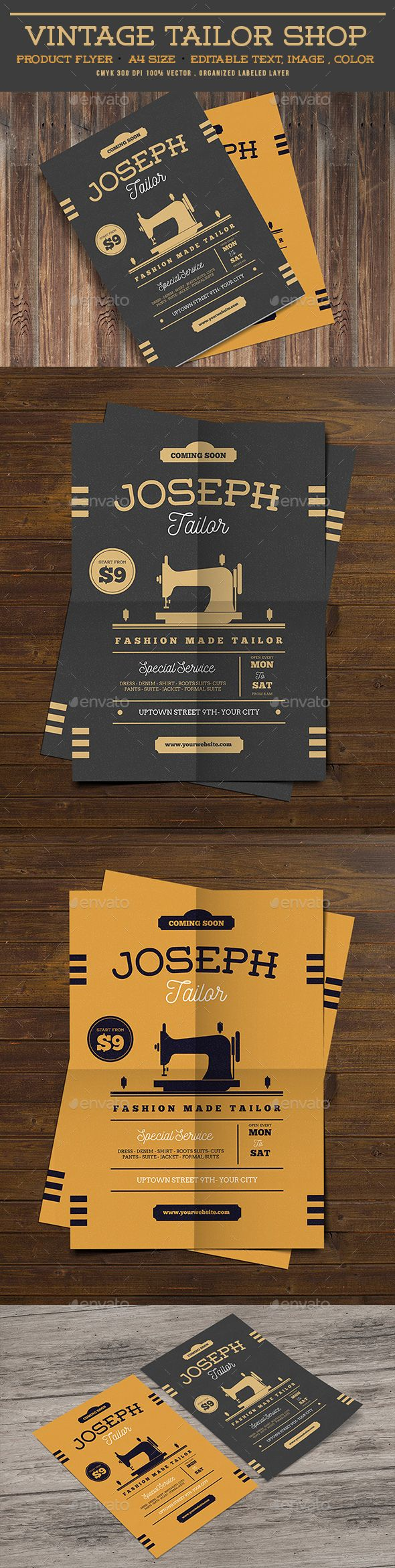 Vintage Tailor Shop Flyer  — PSD Template #fashion #Sewing Machine • Download ➝ https://graphicriver.net/item/vintage-tailor-shop-flyer/18377227?ref=pxcr