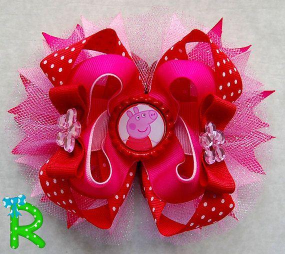 peppa pig ott bow cute boutique hair bow peppa by RoshelysBowtique
