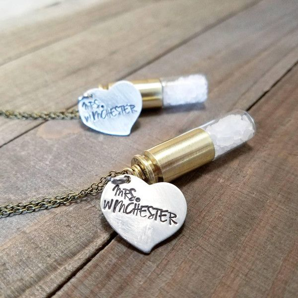 Supernatural necklace ($20) ❤ liked on Polyvore featuring jewelry, necklaces, initial necklace, hand stamped initial necklace, letter charm necklace, initial charm necklace and bullet necklaces