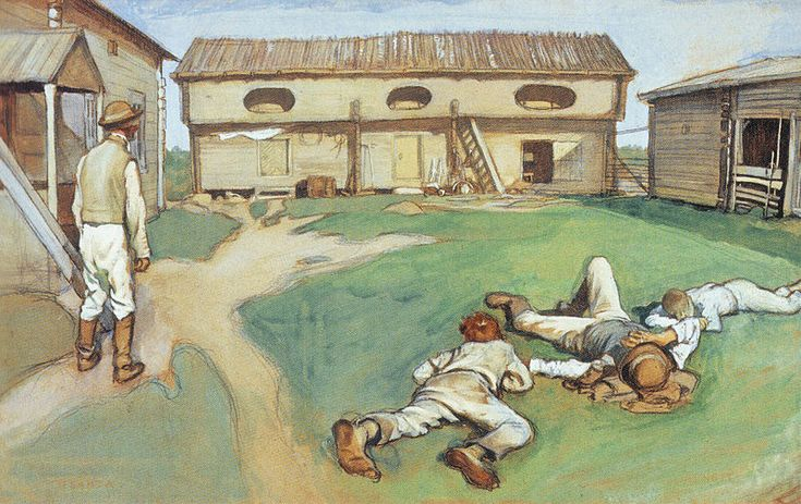 Eero Järnefelt- Host and grooms - Isäntä ja rengit 1893 - 1890-luvulla Järnefelt vietti useita kesiä Lapinlahden Väisälänmäellä Rannan-Puurulan talossa ja maalasi siellä teoksensa Isäntä ja rengit sekä viimeisteli Kaski-nimisen maalauksensa.