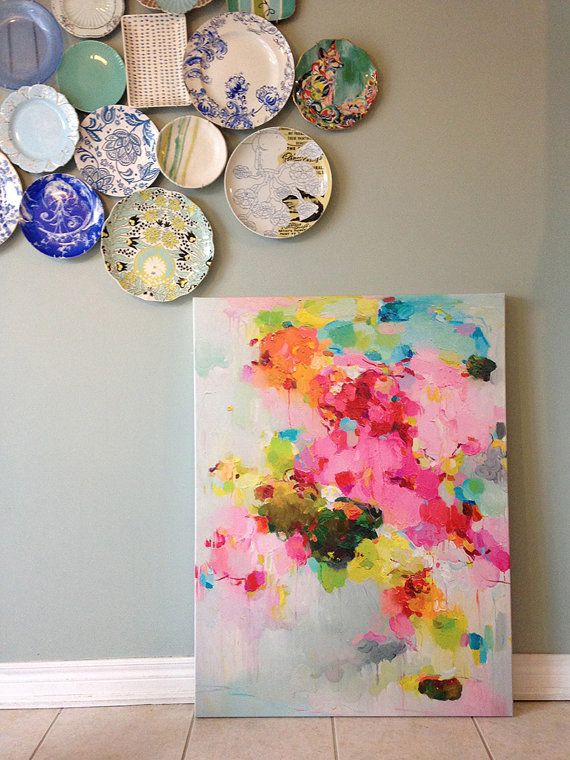 Canvas Prints, giclee, abstract painting, abstract print, contemporary pink print on canvas 30×40- Floating Clouds 2- art print- wall decor – Allie Pumpkin