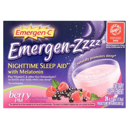 Emergen-Zzzz Dietary Supplement Drink Mix Nighttime Sleep Aid with Melatonin with 500mg Vitamin C, 0.27 Ounce Packets (Berry PM Flavor, 24 Count), Multicolor