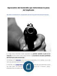 Agravantes del homicidio que determinan la pena del implicado