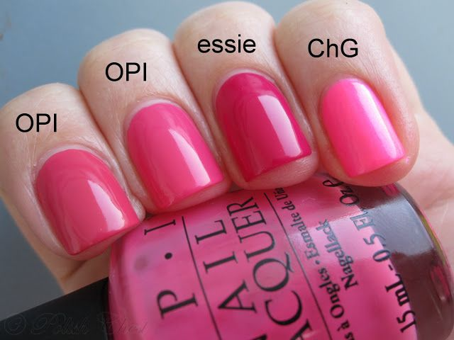 China Glaze - Pink Voltage, essie - Bachelorette Bash, OPI - Strawberry Margarita, OPI - Party in My Cabana