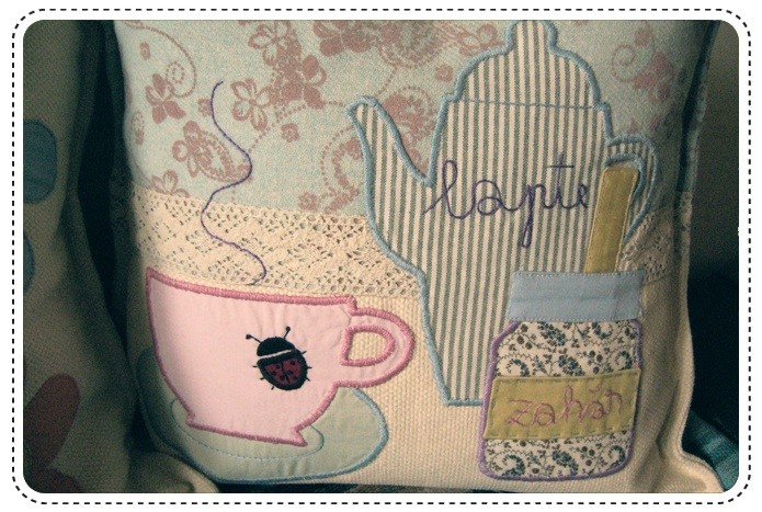 Tea party cushions ( detail )  Hand made embroidery and lace aplique.
