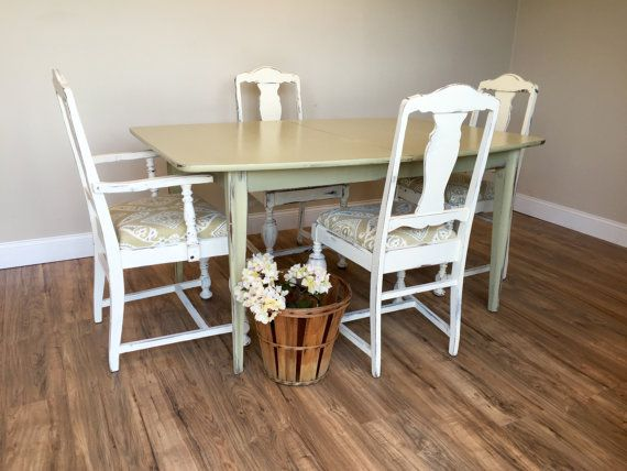 Mid Century Dining Table   Small Dining Table Set   Shabby Chic Dining Table    Painted