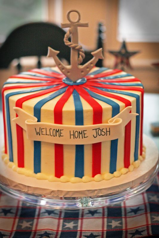 Welcome Home BBQ, Jacksonville FL Event Planner, Red, White & Blue Decor, Anchor Decor, Nautical Theme, Welcome Home Cake, Anchor Cake, Red, White & Blue Cake, For the Love of Cake