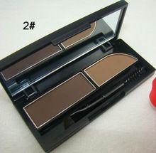 À prova de água 2 double cor maquiagem sobrancelha realçadores sobrancelha sombra em pó Paleta Com Escova alishoppbrasil