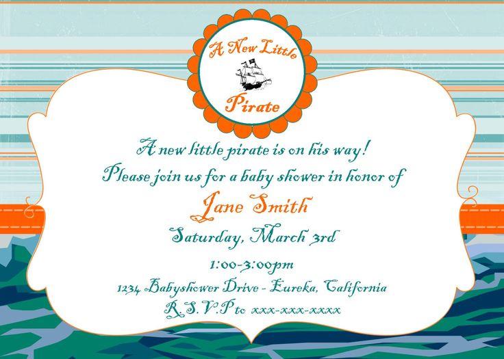 "Pirate Baby Shower Invitation 5""x7"" Custom Digital Card by ScrappersEdge on Etsy https://www.etsy.com/listing/153838095/pirate-baby-shower-invitation-5x7-custom"