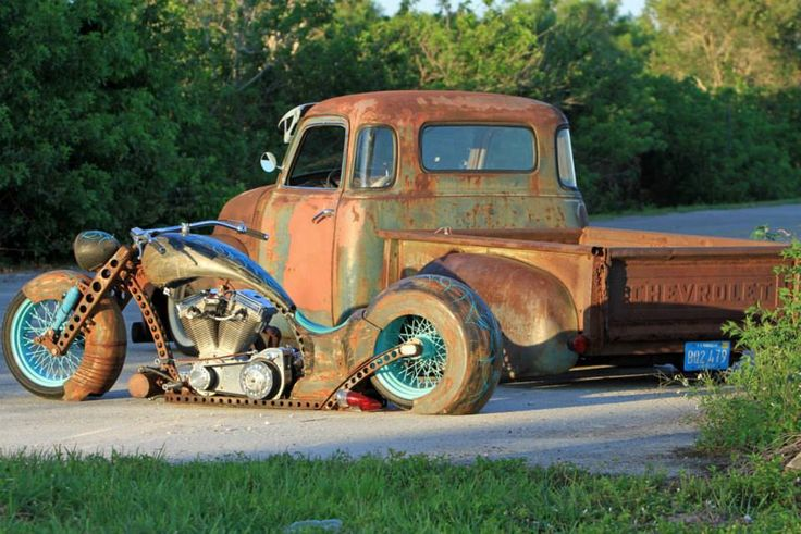 Badass Rat Rods, only thing missin' is the purty m/c girl!