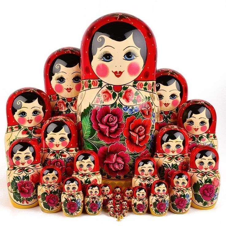 "Traditional Semenov Nesting Doll 30 pcs. Set - This large matryoshka (18"" tall) is an authentic, hand-painted wooden ""Red Roses"" doll from Russia. It is a symbol of traditional Russian folk art. In Russian, the word ""Matryoshka"" is associated with fertility and motherhood. That is why the many of the first Matryoshka dolls utilized the image of portly, chubby-cheeked mother on the outer doll with the likenesses of her numerous children painted on the smaller inner dolls."