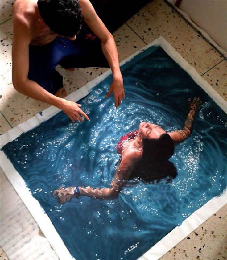 Gustavo Silva Nuñez malt fotorealistische Bilder von badenden Menschen - detailverliebt.de