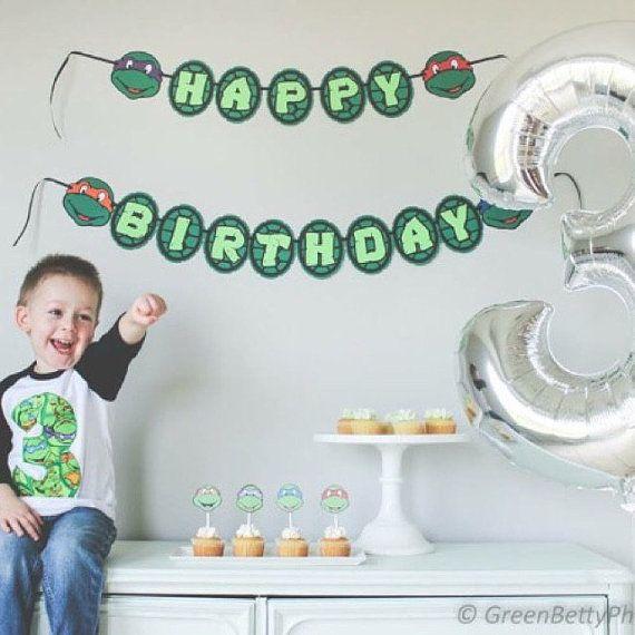 Turtles inspired Happy Birthday banner Ninja Turtles by NiuDesigns