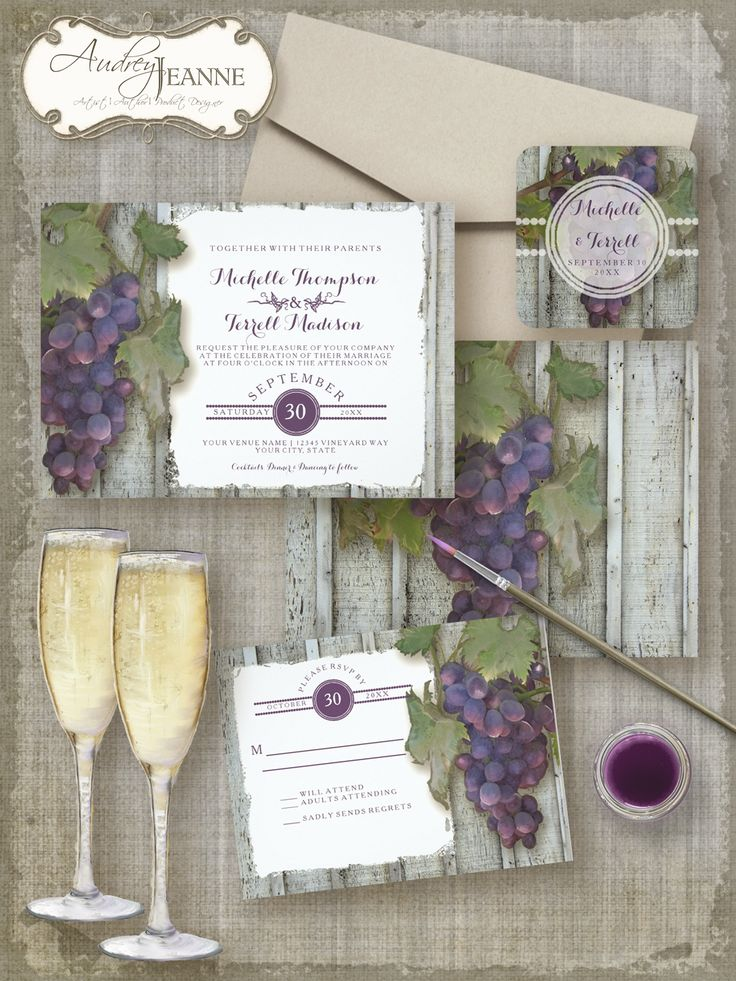 Classic.  Timeless.  Beautiful.  Utterly Unique | Original art vineyard style wedding invitation collection has everything you need to create your own invitations, bridal shower decor and reception design.  #wedding #invitations #theme #grapes #wine #winery #vineyard #summer #fall #venue #typography #modern #trending #trendy #popular #handpainted
