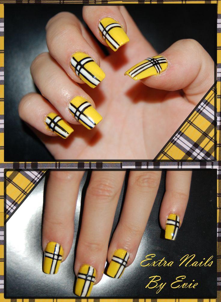 Yellow Gel Strip Nail Art Squear Nails Stripped nails