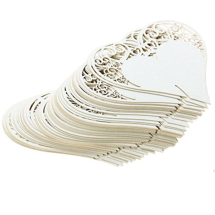 50 Platzkarte Tischkarten Tisch Karten f. Weinglas Elfenbeinweiß