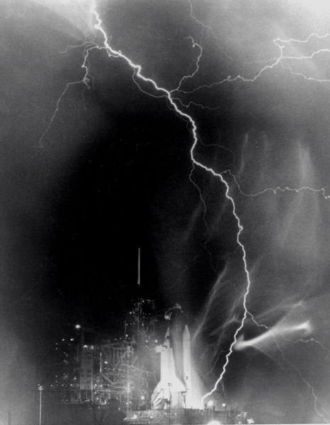 Lightning strikes the Space Shuttle Challenger before the launch of STS-8.  August 30, 1983