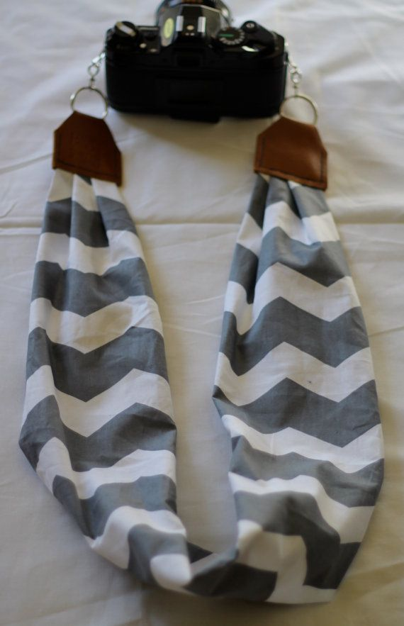 Gray & White Chevron Scarf Camera Strap by maddiemichael on Etsy $25
