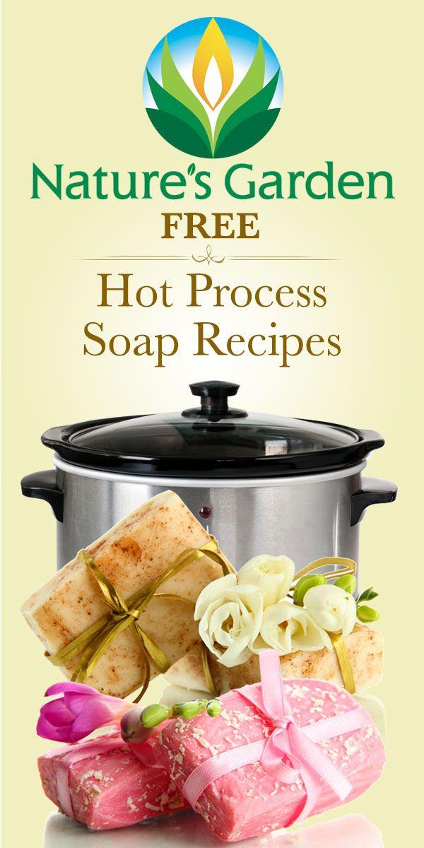 Free Hot Process Soap Recipes from Natures Garden. #hotprocesssoap