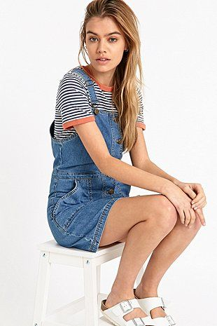 Cooperative by Urban Outfitters Denim Dungaree Dress in Blue - Urban Outfitters