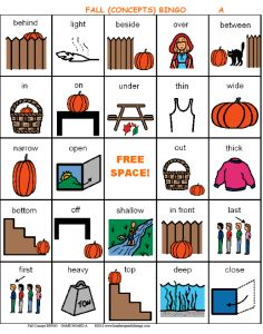 Fall (Concepts) BINGO - This game targets conceptual vocabulary and includes directional/positional and quantity concept words.