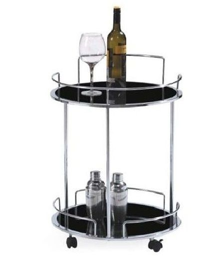 Casabianca Olbia Bar Cart chrome and black glass
