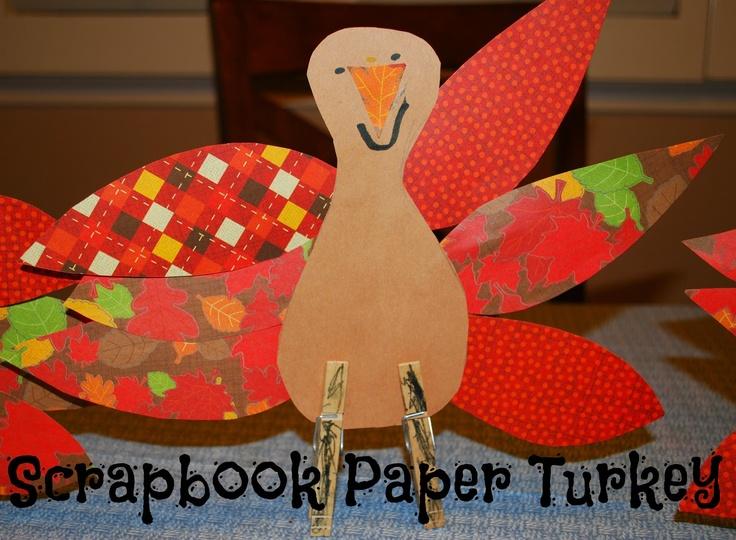 Scrapbook paper thanksgiving turkey craft