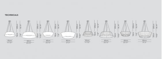 Reverse wisząca (Klosz bawełniany wersja B, H: 24 cm x Ø: 80 cm) - Modo Luce   Designerskie Lampy & Oświetlenie LED